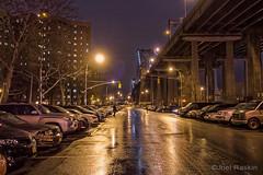 Rainy Night Under the Willy-B (Joel Raskin) Tags: street city nyc newyorkcity bridge urban wet rain les night manhattan lowereastside dxo williamsburgbridge delanceystreet wetpavement dxoone