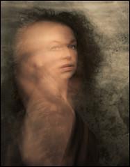 don't breathe me (biancavanderwerf) Tags: light portrait woman selfportrait color colour girl face self dark hair movement mysterious bianca selfie torment