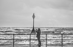Anything for that moment... (munro14) Tags: ocean sea bw white storm black liverpool waves photographer crosby windturbines