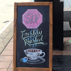 Please #StopFreshlyRoastedCoffee Someone think of the coffee beans! #coffee #sign #chalkboard #chalk (TenguTech) Tags: coffee sign square chalk squareformat chalkboard coffeebeans iphoneography instagramapp uploaded:by=instagram stopfreshlyroastedcoffee