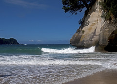 Hot Water Beach (alextoothill) Tags: ocean sea newzealand sky seascape beach water clouds sunrise landscape coast seaside rocks waves outdoor shore nz coromandel eastcoast hotwaterbeach