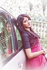 Fariha (ainulislam) Tags: portrait woman reflection cars girl beauty smile face mirror amazing colours outdoor stunning saree