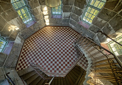 Round room in tower (Digikuvaaja) Tags: old building castle geometric stone wall architecture stairs turn spiral hall ancient europe stair floor interior empty room grunge steps perspective corridor entrance twist medieval architectural stairway lobby indoors staircase round railing chateau curved majestic hdr steep rundown descending