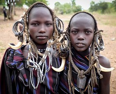 Mursi Girls (Rod Waddington) Tags: africa girls two portrait people female costume outdoor african traditional culture tribal afrika omovalley ethiopia tribe ethnic mago mursi cultural ethnicity afrique ethiopian omo etiopia ethiopie etiopian omoriver