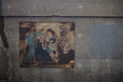 (kasa51) Tags: sign japan tokyo dangerous riverside rusty ruined becareful