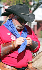 Cowboy Ties Kerchief (wyojones) Tags: horse hat sunglasses beard glasses texas houston shades parade bandana cowboyhat trailride houstonlivestockshowandrodeo wyojones houstonlivestockandrodeoparade wagonboss