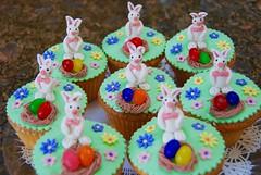 Happy Easter! (ineedathis, Keep on Ticking!) Tags: flowers food bunny easter dessert miniatures baking nest craft jellybeans gumpaste eastercupcakes nikond80