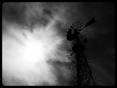 enlightenment... (BillsExplorations) Tags: old blackandwhite sun mist abandoned water windmill silhouette fog clouds rural vintage wednesday decay farm forgotten waterpump ruraldecay abandonedfarm ruraldeterioration abandonedillinois windmillwednesday