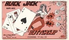 Sundown #474: Black Jack & Buttercup - Ione, Washington (73sand88s by Cardboard America) Tags: woman flower vintage washington sundown qsl cb playingcard cbradio qslcard