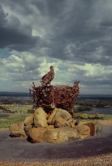 Eagle Sculpture (i-lenticularis) Tags: sky sculpture art clouds landscape iron eagle australia arboretum slide canberra fujiprovia100 rdpiii hexarrf minoltadimageiv scandng