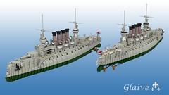 Glaive, Teutobod Class Heavy Cruiser (ABS doohickies) Tags: ship lego render falaise cruiser warship dc5 povray ldd predreadnought
