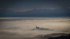 Church and Fog (karlbauernhansl) Tags: alps church berg fog linz austria sterreich nebel hill kirche alpen hgel pstlingberg upperaustria