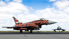 German Tiger Themed Eurofighter. (spencer.wilmot) Tags: orange plane germany airplane fighter aircraft aviation tiger jet apron eurofighter typhoon militaryaviation luftwaffe wbg ntm germanairforce 3009 airside ef2000 specialcolours etns schleswigjagel specialmarkings bavariantigers