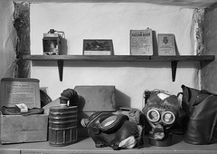 wartime detritus (Stewart485) Tags: england stilllife museum lifestyle places things worcestershire impression gasmasks evocative ww11 architectureandbuildings vaguelyarty