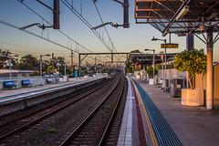 Train station (Evertons) Tags: sunset sol station train canon landscape evening do track sydney east hills trem por hdr estao entardecer t2i
