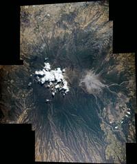 Mexican Volcano (sjrankin) Tags: panorama volcano edited nasa caldera iss iss047 25april2016 iss047e66779 iss047e66780 iss047e66782 iss047e66784 iss047e66785 iss047e66786 iss047e66788 iss047e66789