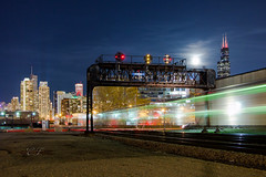 A Celestial Touch (Wheelnrail) Tags: railroad moon chicago tower skyline night train photography time sears full signals passenger morgan metra cp willis scoot chicagoland prr inbound