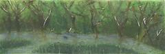 Torn Treeline (rkuruvilla) Tags: original summer green art nature watercolor painting landscape spring stream nashville outdoor hiking pastel charcoal treeline underpainting semiabstract