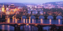 The bridges of Prague (Massimo Cuomo Photography) Tags: park bridge blue panorama skyline night cityscape prague dusk praha hour pavilion letna hanavsky