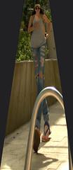 Ripped Jeans Fashion (swong95765) Tags: city woman distortion fashion female walking image sidewalk jeans