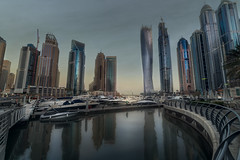 Dubai Marina Harbour (leguico) Tags: city sea marina sunrise boats dubai cityscape outdoor hdr aurorahdr