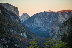 Nearly caught a sunset. (Tall Guy) Tags: trees sunset usa mountain valley yosemite halfdome tallguy