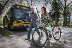 Bus and Bike UW (Seattle Department of Transportation) Tags: seattle cute uw happy bikes transportation pedestrians walkers universitydistrict bikers shared peds sdot