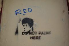8/20/2014 (sixheadedgoblin) Tags: red stencil scrawl publicart olympiawashington donotpainthere