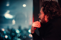 Ori Takemura (Jon Siegel) Tags: china city light window skyline bar night 50mm evening nikon thought shanghai bokeh lounge thinking daydreaming f12 d810 ais50mmf12mancurlyhairthinkingglassesbeardbeardedman