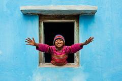 Picture Perfect (AvikBangalee) Tags: blue winter boy portrait house window smile fly kid colorful child joy happiness sunshade cap portraiture sylhet bangladesh pictureperfect stagedportrait armsopenwide beautifulbangladesh avikbangalee peopleandliving teaplantationworkerscolony