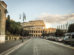 The Colosseum, Rome (Sebastian Rode) Tags: world road city trip travel italien trees light sunset vacation italy plants cloud sun holiday plant vatican rome color colour roma tree nature colors architecture clouds sunrise landscape outside photography lights golden photo italian ancient nikon colorful europe colours foto fotografie image photos outdoor earth antique natur roadtrip powershot journey colourful traveling nikkor rom goldenhour goldenlight a1000 outdoorphotography