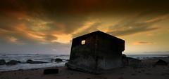 The Sentinel (Explored) (PeskyMesky) Tags: sunset beach canon scotland aberdeen northsea pillbox sunride northeastscotland canoneos500d hexagonalpillbox
