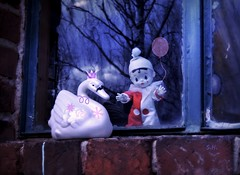 The Carnival of the Animals - The Swan (pianocats16, miau...) Tags: carnival cute window barn vintage toy swan doll figure pierrot plasic