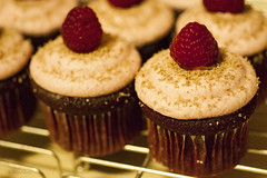 Raspberry red velvet cupcakes with raspberry cream cheese frosting (c.flessen) Tags: food cakes cupcakes chocolate desserts sweets raspberry icing snacks creamcheese frosting bakedgoods redvelvet