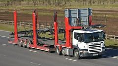 KU15 FKM (panmanstan) Tags: car truck wagon motorway yorkshire lorry commercial vehicle transporter scania m62 p410