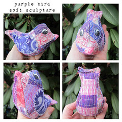Purple Bird Softie (JoMo (peaceofpi)) Tags: canada bird animal stuffed folkart embroidery sewing softie fabric artdoll patchwork softsculpture freemotion rawedge peaceofpi