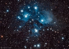 Pleiades (M45) (cassianocarromeu) Tags: california sky colors beautiful night sisters canon stars san object space explorer deep diego telescope seven astrophotography m45 astronomy messier universe pleiades scientific 80mm pixinsight backyardeos