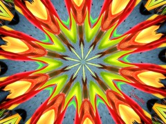Kaleidoscope of Chihuly ART (Give compassion to yourself) Tags: blue red orange black green colors yellow start jaune rouge kaleidoscope mandala vert forms creations artcreation chihulykaleidoscope