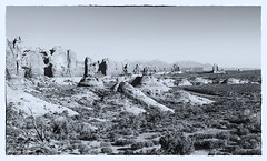 Utah in Black and White (Denzil D) Tags: blackandwhite bw mountains canon utah nationalpark arches archesnationalpark southwesttrip canoneosrebelt2i wifesvacation