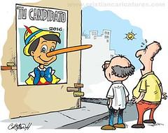2016 pinocho (Caricaturascristian) Tags: poltica elecciones pinocho mentiras prd 2016 candidatos pld prsc