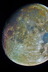 Moon- Super Enhanced (Janmejoy Sarker) Tags: sky moon colour photoshop super stack craters telescope mineral lunar enhanced registax cassegrain d5100 moonalthoughlooksprettycolourless