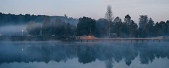 Blue (ukasz Babula) Tags: morning blue autumn trees reflection nature water misty fog forest landscape pier early pond october outdoor jetty foggy poland deck