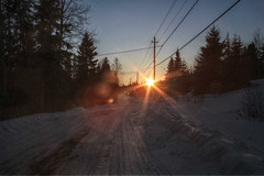 End Of the Work Day (Cindy's Here) Tags: road winter sunset ontario canada canon wires sunflare sunnah