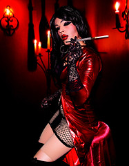 Little red shiny dress (Juliapanther Over 36 million views, thanks!!!) Tags: red leather high model shiny dress julia boots lace cigarette gothic goth posing fishnet mini velvet lips smoking tgirl gloves micro heels latex diva panther pantyhose pinup pvc holder juliapanther