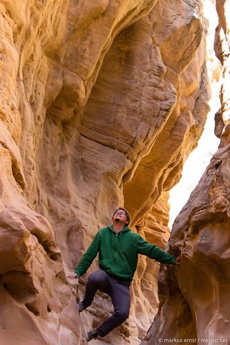 Canyon climbing.