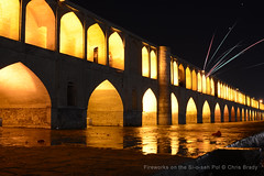 Fireworks on the Si-o-seh Pol (Chris Brady 737) Tags: iran fireworks esfahan isfahan siosehpol