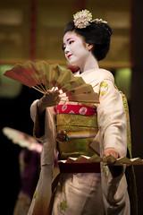 (byzanceblue) Tags: red white cute girl beauty japan lady female japanese dance kyoto traditional maiko geisha    kimono gion elegant japon trad elegance  hanamachi kanzashi     kamishichiken