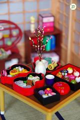 Japanese Sweet Cakes (Ylang Garden) Tags: cake japan corner japanese miniature spring display sweet handmade peach case tatami roombox