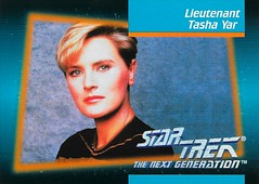 Star Trek The Next Generation 1992 series Trading Card 018 Fron (zigwaffle) Tags: startrek television card trading sciencefiction 1992 startrekthenextgeneration paramount denisecrosby tashayar impel