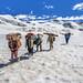 Crossing Hispar La, Biafo Hispar Snow Lake Trek, Central Karakoram National Park, Gilgit-Baltistan, Pakistan